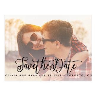 Cartão Postal Economias elegantes do casamento da foto a data