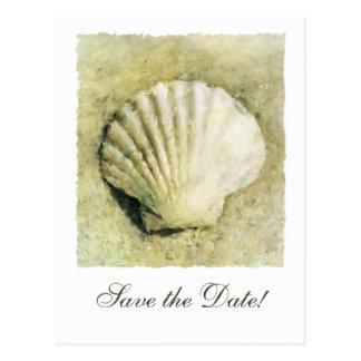 Cartão Postal Economias elegantes do casamento do Seashell o