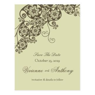 Cartão Postal Economias elegantes florais do chique do vintage