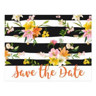Cartão Postal Economias florais as listras do preto do noivado