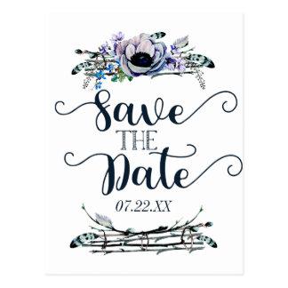 Cartão Postal Economias florais chiques do casamento da hortelã