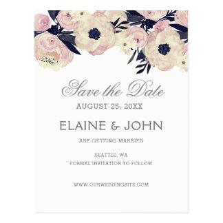 Cartão Postal Economias florais cor-de-rosa azuis & corais do