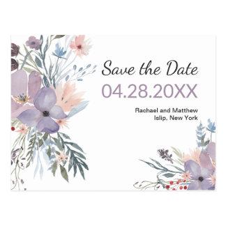 Cartão Postal Economias florais da aguarela violeta do prado a