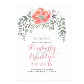 Cartão Postal Economias florais da grinalda de Boho do vintage a