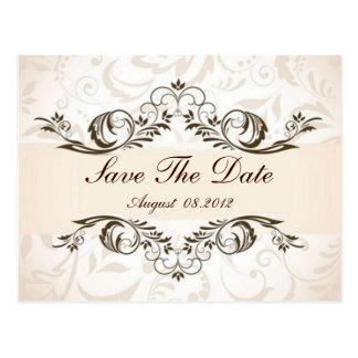 Cartão Postal Economias florais de creme do casamento tema