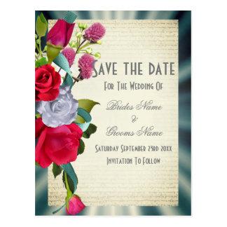 Cartão Postal Economias florais do buquê da flor a data