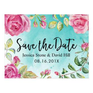 Cartão Postal Economias florais do casamento da aguarela de