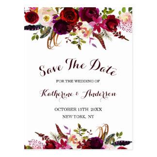 Cartão Postal Economias florais do casamento de Boho Borgonha