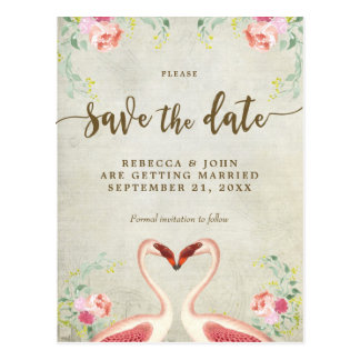 Cartão Postal economias florais do casamento do flamingo do boho