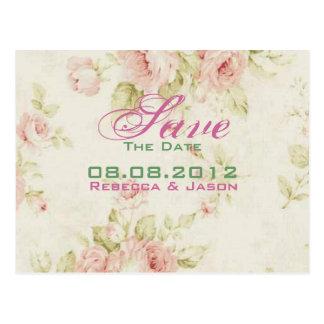 Cartão Postal Economias florais do casamento vintage do rosa do