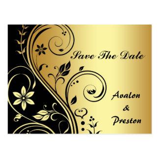 Cartão Postal Economias florais do ouro & do rolo do preto o
