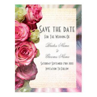 Cartão Postal Economias florais e de prata do rosa do rosa a