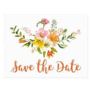 Cartão Postal Economias florais o noivado da laranja da flor do