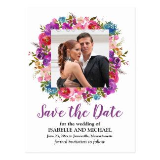 Cartão Postal Economias florais roxas e brancas da foto a data