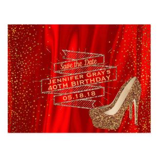 Cartão Postal Economias Glam do vermelho do ouro a bolsa