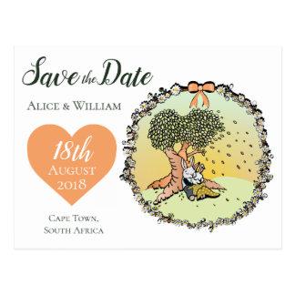 Cartão Postal Economias lunáticas do tema do casamento do coelho