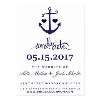 Cartão Postal Economias náuticas da âncora dos azuis marinhos
