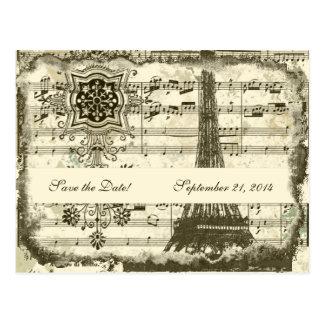 Cartão Postal Economias pretas do creme da música da torre