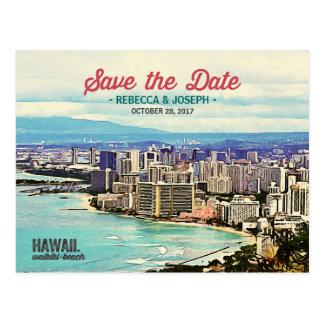 Cartão Postal Economias retros da foto da praia de Havaí Waikiki