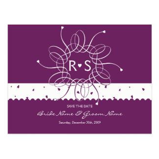 Cartão Postal Economias românticas do Rosette da ameixa a data