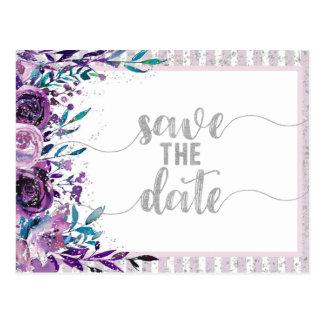 Cartão Postal Economias roxas do casamento floral & de prata a
