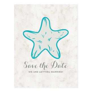Cartão Postal Economias rústicas da estrela do mar de turquesa o