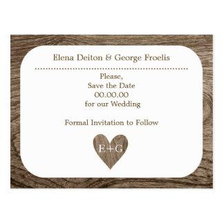 Cartão Postal Economias rústicas de madeira do casamento do