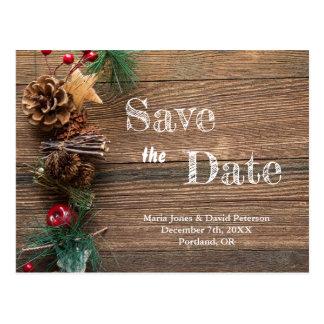 Cartão Postal Economias rústicas do casamento do país do inverno