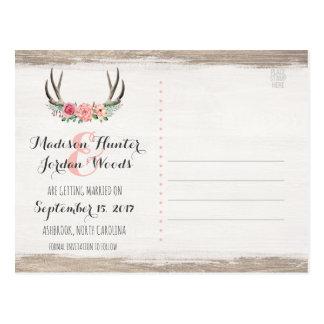 Cartão Postal Economias rústicas do casamento | dos Antlers