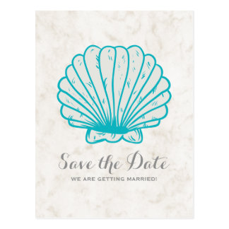 Cartão Postal Economias rústicas do Seashell de turquesa o