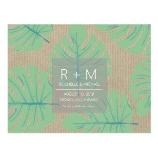Cartão Postal Economias tropicais do casamento da folha as datas