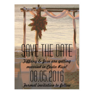 Cartão Postal Economias tropicais do casamento de praia a data
