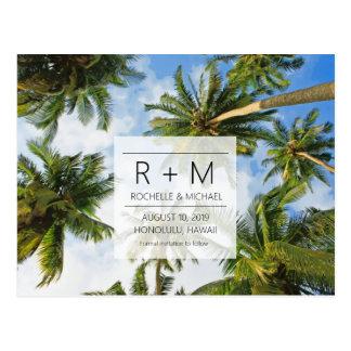 Cartão Postal Economias tropicais do casamento de praia as datas