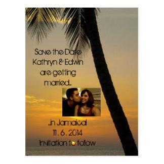 Cartão Postal Economias tropicais do casamento do destino a data