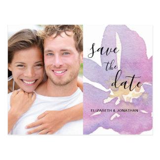 Cartão Postal Economias violetas da foto da lavanda da aguarela