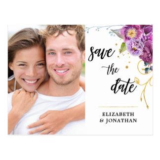 Cartão Postal Economias violetas florais da foto da aguarela a