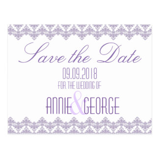 Cartão Postal Economias Wedding o damasco de Purp 2 do Lilac do