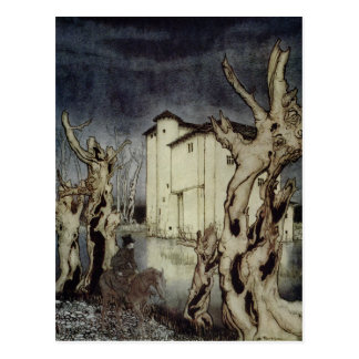 Cartão Postal Edgar Allan Poe Usher que pinta por Arthur Rackham