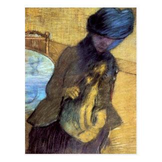 Cartão Postal Edgar Degas - Mary Cassatt com seu cão