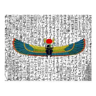 Cartão Postal Egípcio antigo escaravelho voado