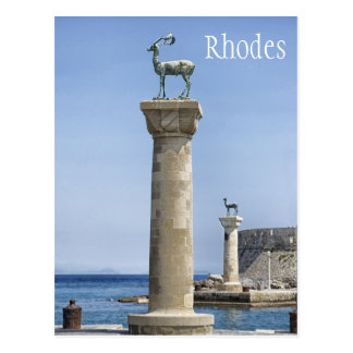 Cartão Postal Elafos e Elafina, entrada ao Rodes, piscina