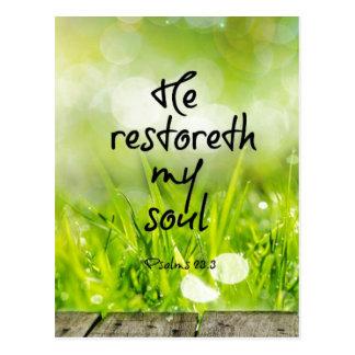 Cartão Postal Ele restoreth minha escritura do verso da bíblia