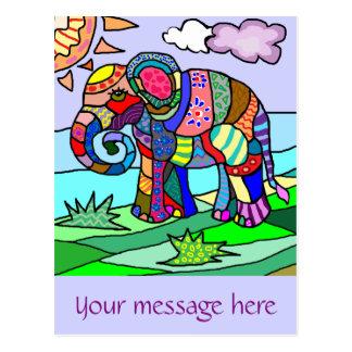 Cartão Postal Elefante abstrato artístico colorido do texto
