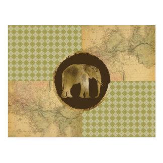 Cartão Postal Elefante africano no mapa e no Argyle