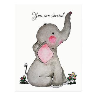 Cartão Postal Elefante bonito do bebê da aguarela com flores