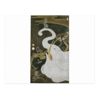Cartão Postal Elefante branco e animais por Ito Jakuchu