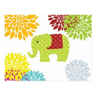Cartão Postal Elefante colorido bonito flower power do Hippie