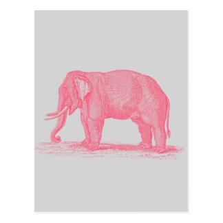 Cartão Postal Elefante cor-de-rosa do vintage em elefantes