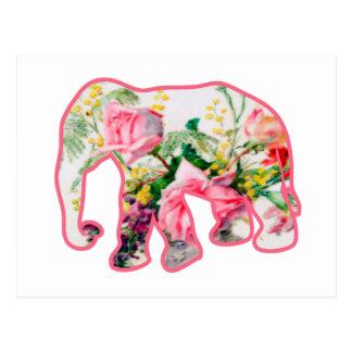 Cartão Postal Elefante cor-de-rosa & floral do vintage