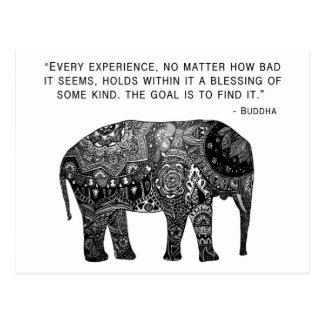 Cartão Postal Elefante da sabedoria do Henna de Buddha